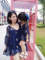 autumn vacations - Mother and daughter clothes girls butterfly Embroidery princess dress womens tulle TUTU dress fashion beach vacation Family clothers T0537
