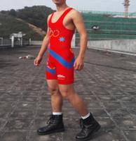 al por mayor los hombres de nylon apretado-Hombre y la juventud de dibujos animados Wrester Estados Unidos Lucha hombre de la camiseta hombre lucha libre traje de gimnasio traje de levantamiento de pesas