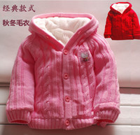 Wholesale Boy Girl Sweater Coat Add Plush Cotton Solid Sweaters Can Be Outwear Clothes Coat Children Winter Warm Sweaters With Hooded