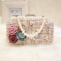 Fashion Design Femmes Robe De Mariée Sac Sacs De Soirée Solides Mesdames Perles Embrayages Bourses Sacs à Main Handmade Fleurs Party Bag