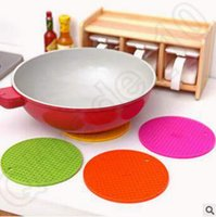 Wholesale 10 Color cm Table Mats Durable Silicone Round Non slip Heat Resistant Mat Coaster Cushion Placemat Pot Holder Silicone Pads CCA5264