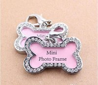 beautiful name card - Pets id F New Arrival Tag Dogs Bones Shaped Crystal Photo Frame beautiful cats name id cards