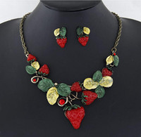 african fruits - Lovely Design Strawberry Necklaces For Women Cute Fruit Earrings Necklace Set Epoxy Leaves Pendant Necklace SETS