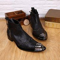 Remaches Metal Toe Hombres Botas Botas de cuero genuino Negro Botas altas Botas de tobillo dedo del pie puntiagudo Zapatos planos de otoño para los hombres de negocios de la boda