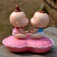 Wholesale solar doll dolls lovers kiss head car accessories cute ornaments