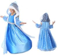 Cheap frozen snow queen elsa costume anime cosplay dress frozen elsa dress blue frozen princess elsa dress with hooded cape in stock