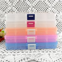 Wholesale Slots Adjustable Jewlery Adjustable Tool Box Case Craft Organizer Storage Beads Tiny Stuff Random Color