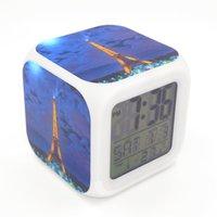 Wholesale New Eiffel Tower Night Scene Creative Led Alarm Clock Desk Clock Digital Alarm Clock with Snooze Calendar Thermometer Kids Toy