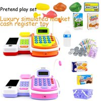 Wholesale Luxury simulated market Multi function cash register toy with scanner calculator pretend play house set classic toy gift for kids