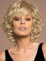 al por mayor pelo rizado muy corto-Peluca ondulada del pelo de la manera ondulada de la salud rubia corta muy fina Pelucas Peruca