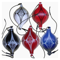 Wholesale New Double End Boxing Training Punching Bag Speedball Speed Ball Leather Punch Bag Exercise Boxing Ball olive shape Ball