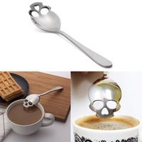 Wholesale Stainless Steel Skull Coffee Sugar Spoon Tea Coffee Stirring Spoon Ice Cream Tableware Skeleton Head Bar