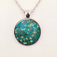 almond gifts - Van Gogh Almond Branch in Bloom art pendant bridal jewelry wedding famous painting necklace