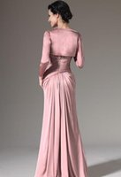 army of brides - Dusty Pink Mother Of The Bride Dresses One Shoulder Pleated Chiffon Floor Length Long Sleeves Mother Bride Dresses With Jacket
