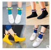 ball sock - Colorful Fur Balls Cotton Socks Baby Korean Autumn Winter Socks Cartoon Leg Warmers Girl Fashion Children s Short Christmas Socks