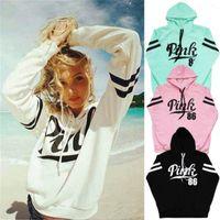 Wholesale New Women Long Sleeve Hoodie Sweatshirt Sweater Casual Hooded Coat Pullover Pink Print Hoodies Sport sweater fleeces Hoody Womens Clothing