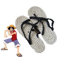 Wholesale Monkey D Luffy cosplay Straw sandals Japanese anime One Piece Straw sandals Halloween Masquerade Mardi Gras Carnival cosplay shoes