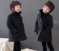 Wholesale Children cool coat baby boy cloth lapel coat thicken clothes Monochrome woollen garments in winter