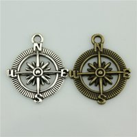 Wholesale mm vintage colors antique silver antique bronze plated zinc alloy compass charms diy vintage jewelry