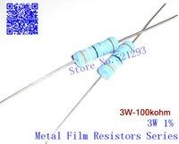 Resistores de película de metal de 3W 100k ohm +/- 1% / 3w 100K Resistencia de anillo de color (20pieces)