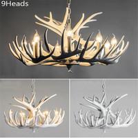 antler lighting - Rustic Modern Large White Deer Antler Chandeliers Lighting Lamp with Tree Branches for Dining Room Restaurant Lights