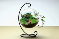 Wholesale 1SET Clear Glass Round Bottle Vase with Hole Flower Plant Metal Stand Hanging Vase not any plant Hydroponic Home Office Decor Vase G161