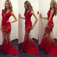 african flowers photos - 2017 Sexy Red sheer Celebrity holiday tulle dubai evening Dresses V neck Gowns Special Occasion Mermaid formal Prom dress african qw