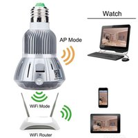 Wholesale Spy camera HD P Wifi IP E27 Bulb LED Lamp CCTV Security CamcorderMotion Detection CCTV Camera