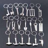 Men axe keychain - 3D Model Wrench metal opener key ring car keychain custom logo Advertising Tool Spanner Key chain hammer saw axe pliers Drill keyring Shovel