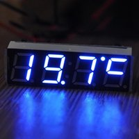 Wholesale V V Car Auto Digital Led Electronic Time Clock Thermometer Voltmeter Three Colors For Choose ND