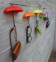 Wholesale 3Pcs Umbrella shape Colorful Wall Mount Hook Key Holder Storage Rack hanging hooks rails for Bathroom Kitchen Door Shelves