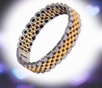 Wholesale High grade stainless steel bracelet Mens watch with gold bracelet domineering big European and American titanium bracelet boutique