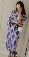 2017 estilo de la nación de las nuevas mujeres del diseño de la pista de la nación retra azul y blanco de la impresión de la porcelana de la borla de la llamarada de la llamarada de la manga de la llamarada de midi