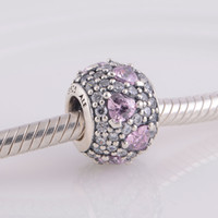 Wholesale Genuine S925 Sterling Silver lampwork Beads Heart Pave Ball Charm Fit Pandora ALE Style sea shells jewelry Bracelets Necklace