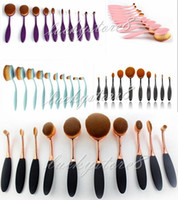 Wholesale Professional Makeup brush Oval Toothbrush Women Foundation Eye Shadow Blusher Soft Shape Curve Brushes Makeup Tools pink blue DHL free