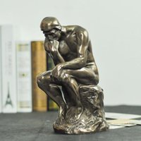 antique bone carved - 8 inches Thinking Man The Thinker Bones Statue Sculpture Art Decor Deco Figurine