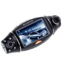 Cámaras de lentes de porcelana España-USB 2.0 Tipo de interfaz Visión nocturna 2.7 pulgadas R310 HD 1080P Dual Lens Car DVR IR visión nocturna cámara de visión trasera registrador venta caliente