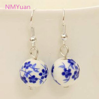 Wholesale Personalized retro handmade porcelain ceramic national wind small domestic jewelry earrings for women
