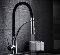 Wholesale Black and Chrome Finish Kitchen Sink Faucet Deck Mount Pull Out Dual Sprayer Nozzle Hot Cold Mixer Water Taps XKX