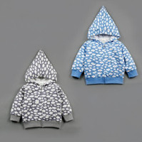 Wholesale RMY26 NEW Design infant Kids Spring Autumn Cloud Print Zipper Hooded Jackets Cotton Blue Grey Baby Kids Outwear Jackets