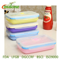 Wholesale 2017 New Silicone Collapsible Portable Lunch Box Bento Boxes Folding Food Storage Container Lunchbox Microwave Dinnerware Tools