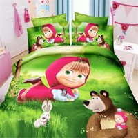 Cheap Wholesale-3d masha and bear princess girls bedding set 2 3pcs twin single size of duvet doona cover bed sheet pillow case bed linen set