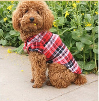 Wholesale Pet Supplies Clothes Puppy Dog Vests T Shirt Apparel Costume plaid checker Soft pets dogs cats T Shirt