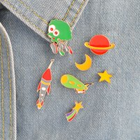 Ensemble de broche à broches Star Moon Rocket Alien Telescope Design Space Pin NASA Pin Vintage Geekery Gift