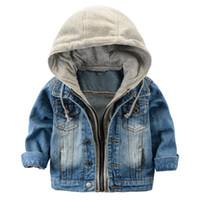 2017 veste enfants Denim Boys vestes à capuchon Jean filles vêtements pour enfants manteau de bébé Vêtements de loisirs nouvelle marque usine