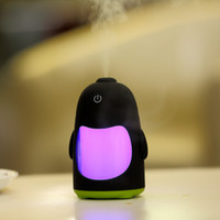 Wholesale NEW Mini Creative Penguin USB Ultrasonic Humidifier Air Purifier Dry Protecting Diffuser Atomizer Mist Maker DC V LED Light ML For Gift