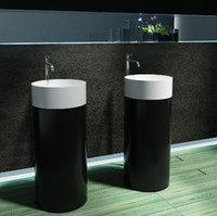 Wholesale Modern Bathroom Furniture Solid Surface Artificial Stone Man Made Stone Acrylic Resin Stone Fashion Freestanding Basin PB2173