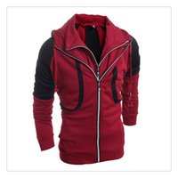 active fake - Hoodies for Men Hit Color Stitching Men s Fake Two Pieces Long Sleeves Zipper Cardigan Hoodies US Size XS L
