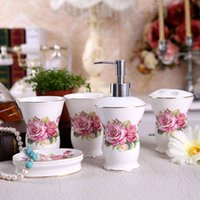 Wholesale Porcelain bathroom sets ultra thin super white bone china fowers design five piece set accessories bathroom sets wedding gifts