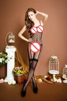 Wholesale New Women Sexy Lingerie With Garter belt Erotic Lingeries Open crotch Bodysuits Sexy Costumes Black silk stockings Sexy Body Suit